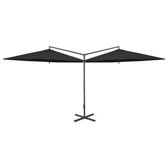 vidaXL Podwójny parasol na stalowym słupku, czarny, 600 cm