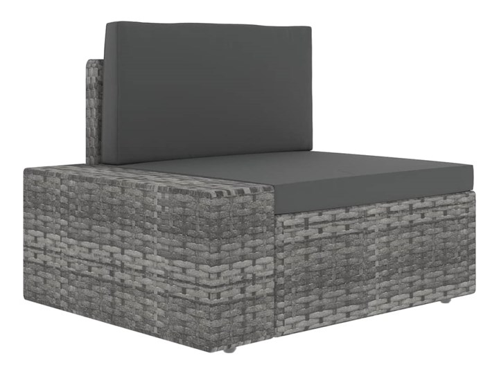 vidaXL 9-cz. ogrodowy zestaw wypoczynkowy, poduszki, szary rattan PE Stal Zestawy modułowe Zestawy wypoczynkowe Zestawy kawowe Zawartość zestawu Stolik