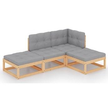 vidaXL 4-cz. zestaw wypoczynkowy do ogrodu, z poduszkami, lita sosna