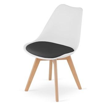 Krzesło skandynawskie białe z czarną poduszką 53E-7