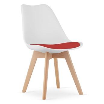 Krzesło skandynawskie z poduszką 53E-7 biało-czerwone