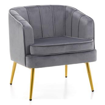 Fotel w stylu Glamour SOFIA ( MWM-022 ) / szary welur, złote nogi
