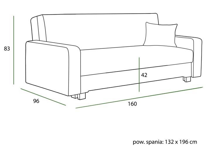 Sofa z funkcją spania 3 osobowa LUX-1 / kolory do wyboru Szerokość 60 cm Głębokość 160 cm Materiał obicia Tkanina