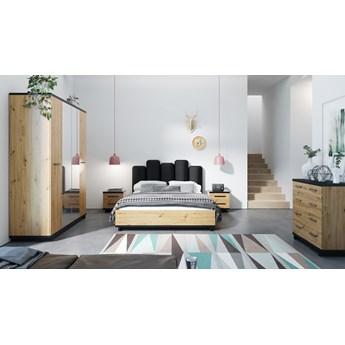 Sypialnia INES : Wybierz kolor - Dąb Artisan + Czarny Mat