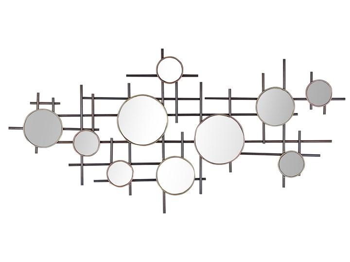 Lustro ścienne czarno-złote metalowa rama 10-częściowe 113 x 55 cm dekoracja ścienna styl nowoczesny ...