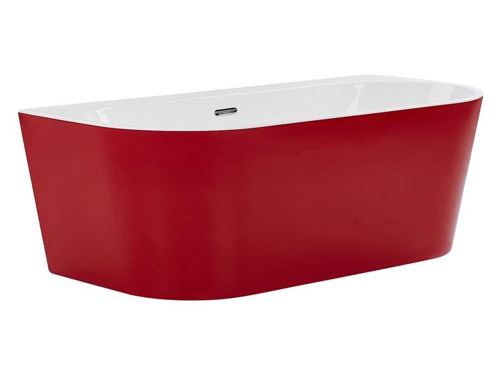 Wanna czerwona akrylowa 170 x 80 cm owalna z systemem przelewowym nowoczesny design