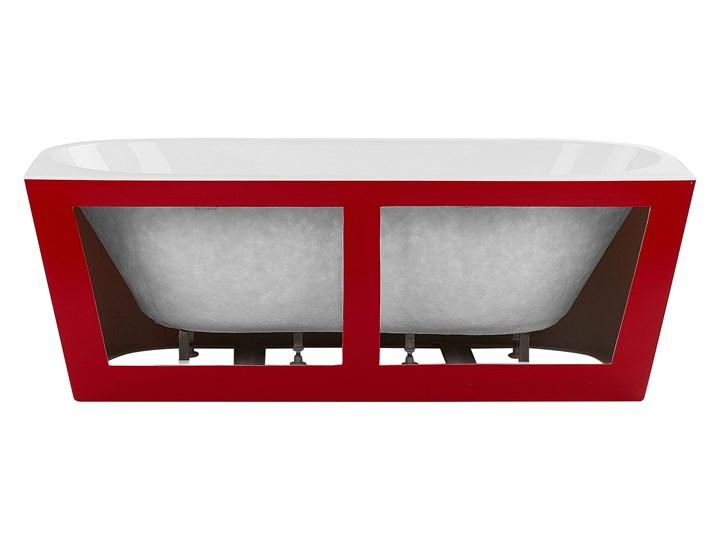 Wanna czerwona akrylowa 170 x 80 cm owalna z systemem przelewowym nowoczesny design Długość 170 cm Kolor Czerwony