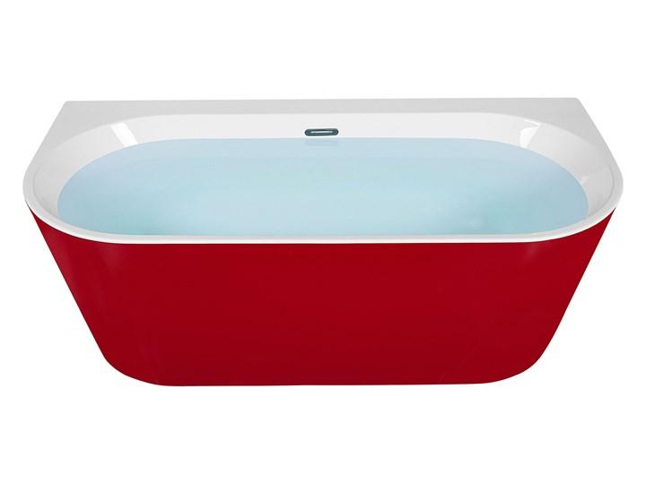 Wanna czerwona akrylowa 170 x 80 cm owalna z systemem przelewowym nowoczesny design Kolor Czerwony Długość 170 cm Kategoria Wanny