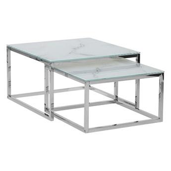 Zestaw 2 stolików kawowych biały blat efekt marmuru srebrna rama hartowane szkło stalowe nogi styl minimalistyczny glam