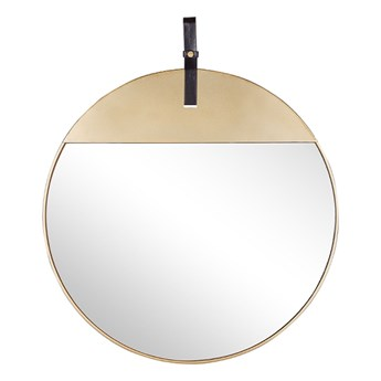 Lustro ścienne złote metalowa rama okrągłe 60 cm na pasku ze skóry ekologicznej dekoracyjne styl nowoczesny