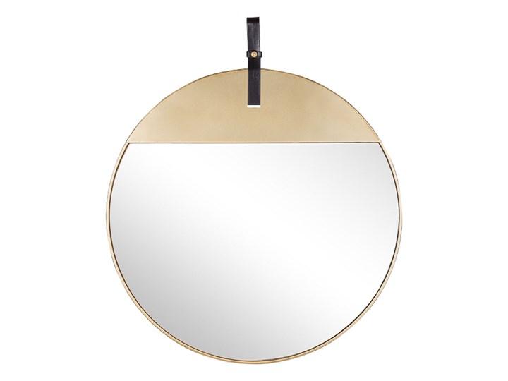 Lustro ścienne złote metalowa rama okrągłe 60 cm na pasku ze skóry ekologicznej dekoracyjne styl now ...