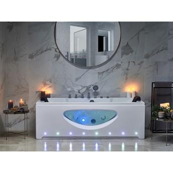 Wanna z hydromasażem biała akrylowa 180 x 80 cm oświetlenie LED przeszklenie zagłówki prostokątna nowoczesna