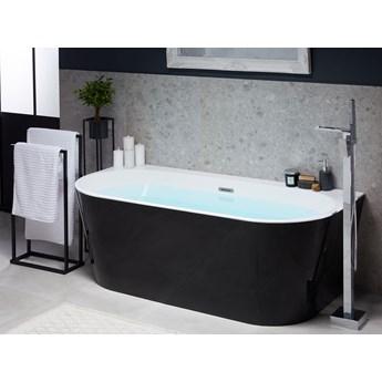 Wanna czarna akrylowa 170 x 80 cm owalna z systemem przelewowym nowoczesny design