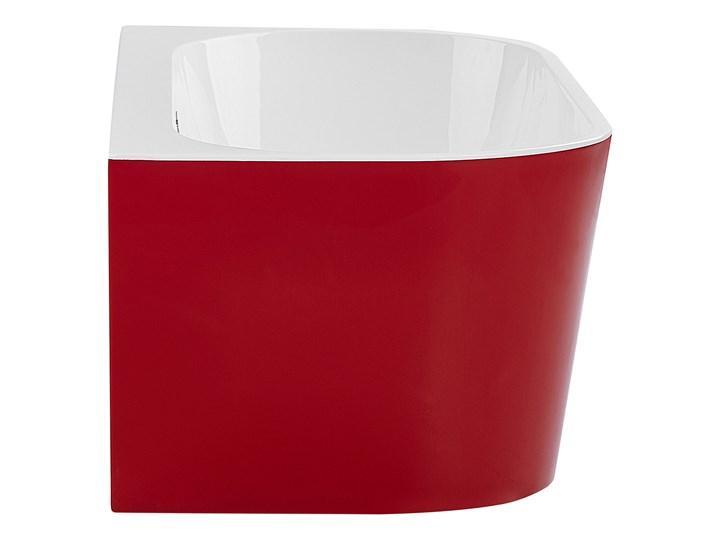 Wanna czerwona akrylowa 170 x 80 cm owalna z systemem przelewowym nowoczesny design Długość 170 cm Kolor Czerwony Kategoria Wanny