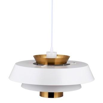 Aalborg White 40cm - duża nowoczesna lampa wisząca biała mosiądz