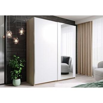 Szafa HIT 120 : Dodaj półki: - 3 półki- białe, Wybierz kolor frontu: - biały/lustro, Wybierz kolor korpusu: - dąb sonoma
