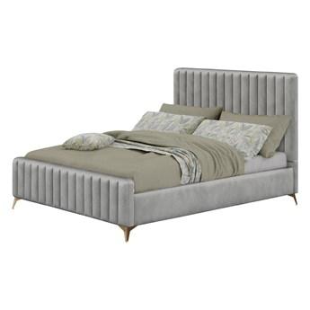 Łóżko tapicerowane Glamour MONAKO (VFB-02)/ szare, welur #20, złote nogi