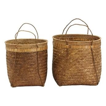 Zestaw 2 naturalne duże kosze Balie z bambusa i rattanu HOUSE DOCTOR