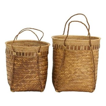Zestaw 2 naturalne kosze Balie z bambusa i rattanu HOUSE DOCTOR