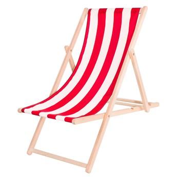 Leżak ogrodowy drewniany do samodzielnego montażu z materiałem czerwono-białe pasy