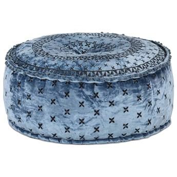 Niebieski puf welurowy do siedzenia - Manda