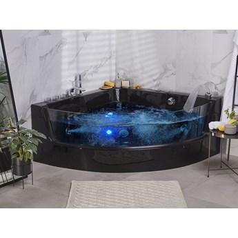 Wanna narożna czarna akrylowa 135 x 135 cm LED hydromasaż nowoczesna