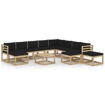 vidaXL 12-cz. zestaw wypoczynkowy do ogrodu, z poduszkami, drewniany