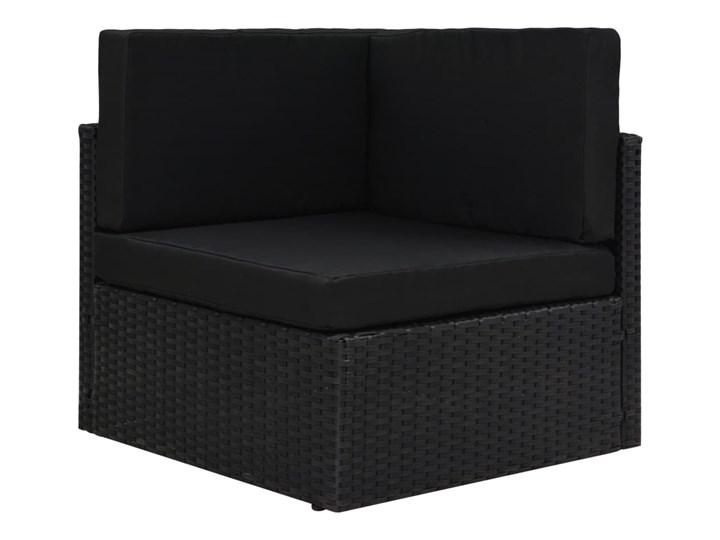 vidaXL 8-cz. ogrodowy zestaw wypoczynkowy, poduszki, czarny rattan PE Zestawy modułowe Zestawy wypoczynkowe Stal Zestawy kawowe Zawartość zestawu Stolik