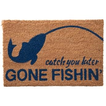Wycieraczka Gone Fishing 60x40cm naturalna niebieska