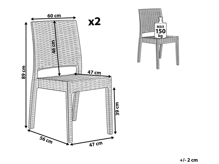 Zestaw 2 krzeseł ogrodowych jasnoszary tworzywo sztuczne sztaplowane na taras do ogrodu Styl Nowoczesny Krzesła tradycyjne Styl Minimalistyczny