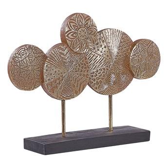 Dekoracyjna rzeźba złota żywica syntetyczna 31 cm okrągłe rustykalna ozdoba mieszkania