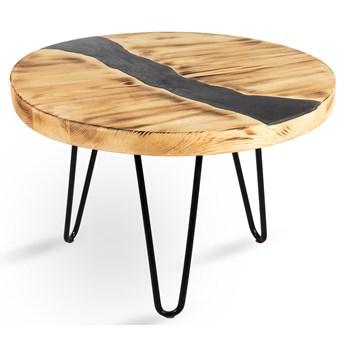 Okrągły stolik kawowy z kolorową żywicą - Kriso
