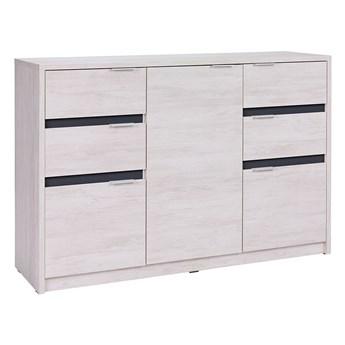 Nowoczesna komoda z półkami i szufladami - DENVER - biały dąb+grafit