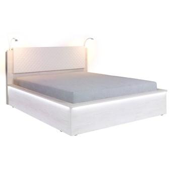 Łóżko drewniane z zagłowiem 160x200 - Denver, biały dąb