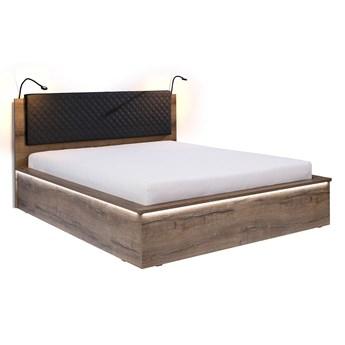 Łóżko drewniane z zagłowiem 160x200 - Denver, monostery dąb