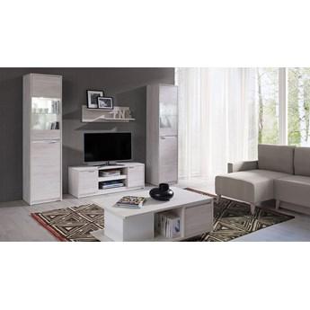 System DENVER, meble do salonu, dwie witryny i szafka RTV - Biały Dąb
