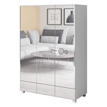 Szafa trzydrzwiowa 129cm biała, lustrzany front 3 szuflady