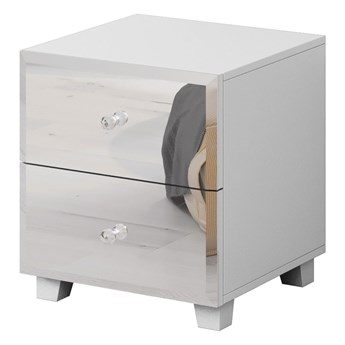 Stolik nocny z dwoma szufladami 45cm biały - lustrzany front
