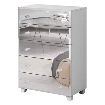 Wysoka komoda z pięcioma szufladami, biała lustrzany front 72 cm
