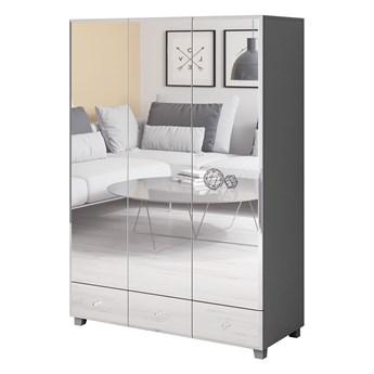 Szafa trzydrzwiowa 129cm szara, lustrzany front 3 szuflady
