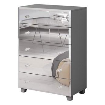 Wysoka komoda z pięcioma szufladami, szara, lustrzany front 72 cm