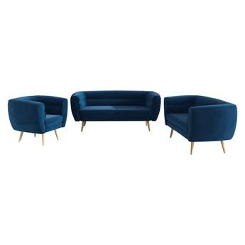 Zestaw wypoczynkowy z fotelem do salonu - zestaw BAKU 3+2+1 granatowy