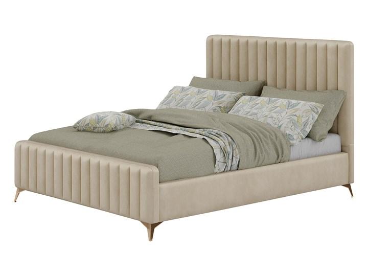 Łóżko Glamour 140x200 (VFB-02) / Welur - Beż Tkanina Drewno Metal Rozmiar materaca 140x200 cm