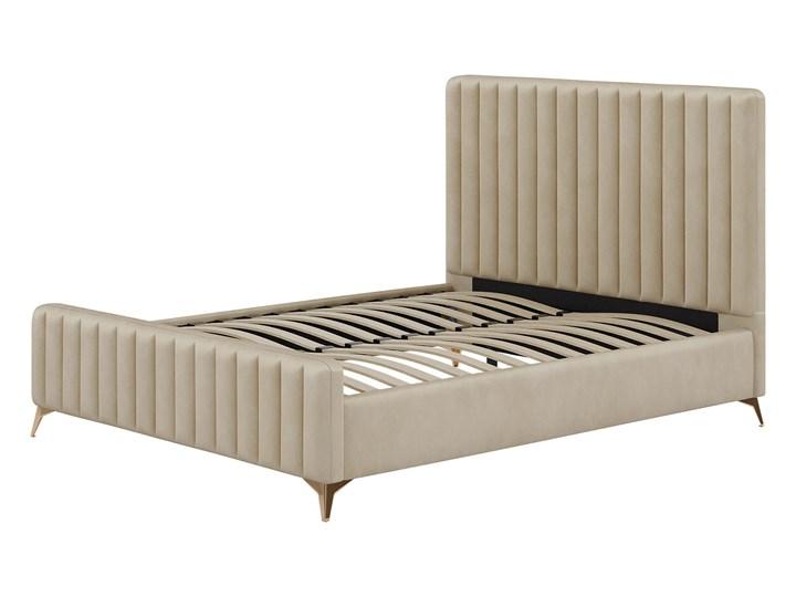 Łóżko Glamour 140x200 (VFB-02) / Welur - Beż Tkanina Metal Drewno Rozmiar materaca 140x200 cm