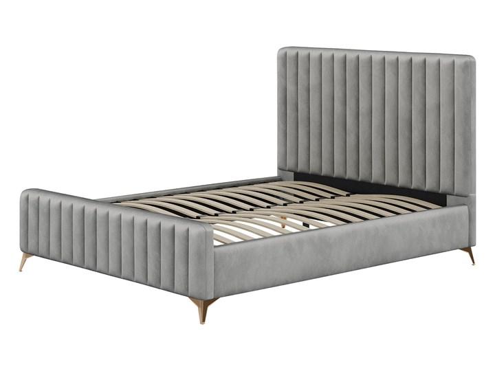 Łóżko 140x200 w stylu Glamour BELANIA (VFB-02) / Welur - Szary Tkanina Metal Drewno Rozmiar materaca 140x200 cm
