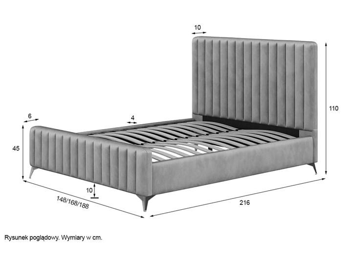 Łóżko 140x200 w stylu Glamour BELANIA (VFB-02) / Welur - Szary Rozmiar materaca 140x200 cm Drewno Tkanina Metal Kategoria Łóżka do sypialni