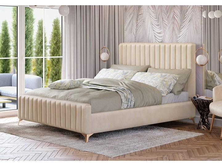 Łóżko Glamour 140x200 (VFB-02) / Welur - Beż Kategoria Łóżka do sypialni Drewno Metal Tkanina Rozmiar materaca 140x200 cm
