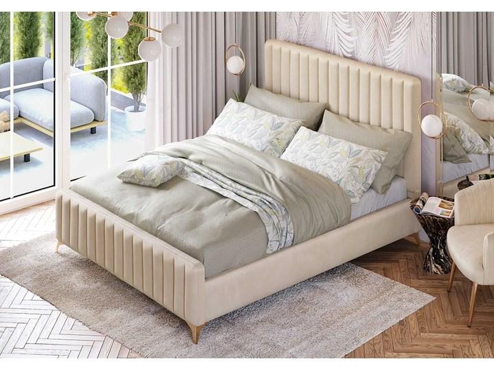 Łóżko Glamour 140x200 (VFB-02) / Welur - Beż Drewno Tkanina Metal Rozmiar materaca 140x200 cm