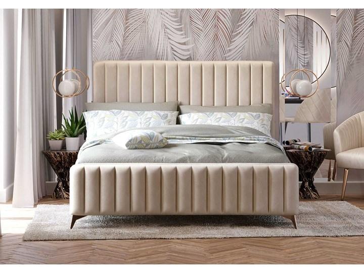 Łóżko Glamour 140x200 (VFB-02) / Welur - Beż Tkanina Metal Drewno Rozmiar materaca 140x200 cm Kategoria Łóżka do sypialni