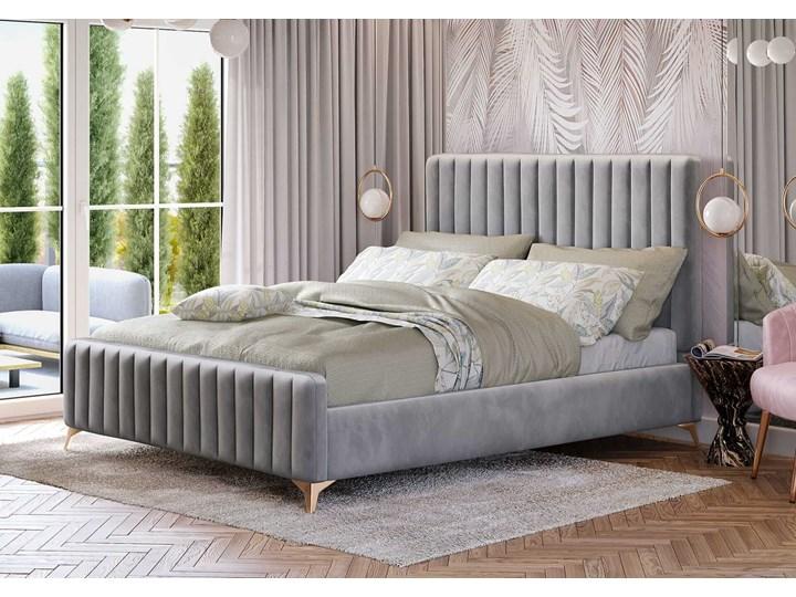 Łóżko 140x200 w stylu Glamour BELANIA (VFB-02) / Welur - Szary Metal Tkanina Rozmiar materaca 140x200 cm Drewno Kategoria Łóżka do sypialni